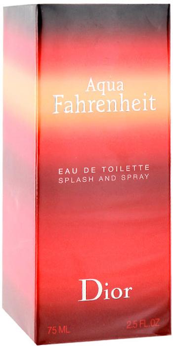 Christian Dior Fahrenheit Aqua. Туалетная вода, мужская, 75 млF026623009Решительный современный Christian Dior Fahrenheit Aqua - мужественный запах, для тех, кто ищет новую свежесть. Свежие, элегантные ноты Aqua Fahrenheit от Диор смешиваются в совершенную гармонию, чтобы создать теплый, прозрачный и неповторимый аромат. Аромат открывается водными нотами, а оставляет огненный шлейф, это уникальное сочетание двух мощных стихий.Классификация аромата: цветочный, древесный, мускусный.Пирамида аромата: Верхние ноты: грейпфрут, мандарин.Ноты сердца: фиалка, тосканский базилик, голубая мята.Ноты шлейфа: ветивер, кожа.Ключевые слова Многогранный, неповторимый, прозрачный, свежий! Характеристики:Объем: 75 мл. Производитель: Франция. Туалетная вода - один из самых популярных видов парфюмерной продукции. Туалетная вода содержит 4-10%парфюмерного экстракта. Главные достоинства данного типа продукции заключаются в доступной цене, разнообразии форматов (как правило, 30, 50, 75, 100 мл), удобстве использования (чаще всего - спрей). Идеальна для дневного использования. Товар сертифицирован.Краткий гид по парфюмерии: виды, ноты, ароматы, советы по выбору. Статья OZON Гид