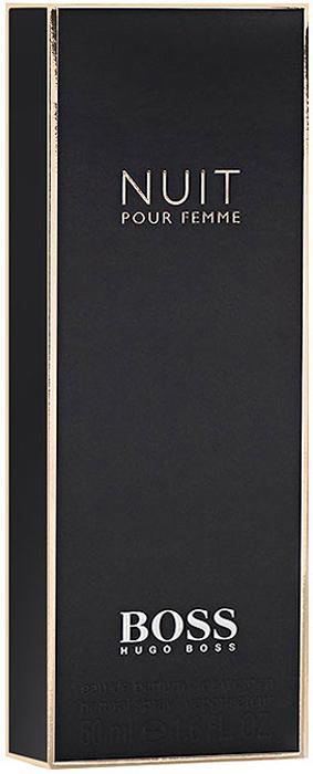 Hugo Boss Парфюмерная вода Boss Nuit Pour Femme, 50 мл0737052549941Hugo Boss Boss Nuit Pour Femme подобен маленькому черному платью, в котором нет ничего лишнего. Оно идеально подчеркивает элегантность, чувственность и женственность своей обладательницы. Композиция аромата соткана из нежных цветочных нот жасмина, фиалки и белых цветов; дополнена сладостью сочного, спелого персика и согрета бархатистым теплом древесных нот сандала и мха.Классификация аромата: фруктовый, цветочный. Пирамида аромата: верхние ноты - альдегиды, персик; ноты сердца - жасмин, фиалка, белые цветы; ноты шлейфа - дубовый мох, сандал.Товар сертифицирован.Краткий гид по парфюмерии: виды, ноты, ароматы, советы по выбору. Статья OZON Гид