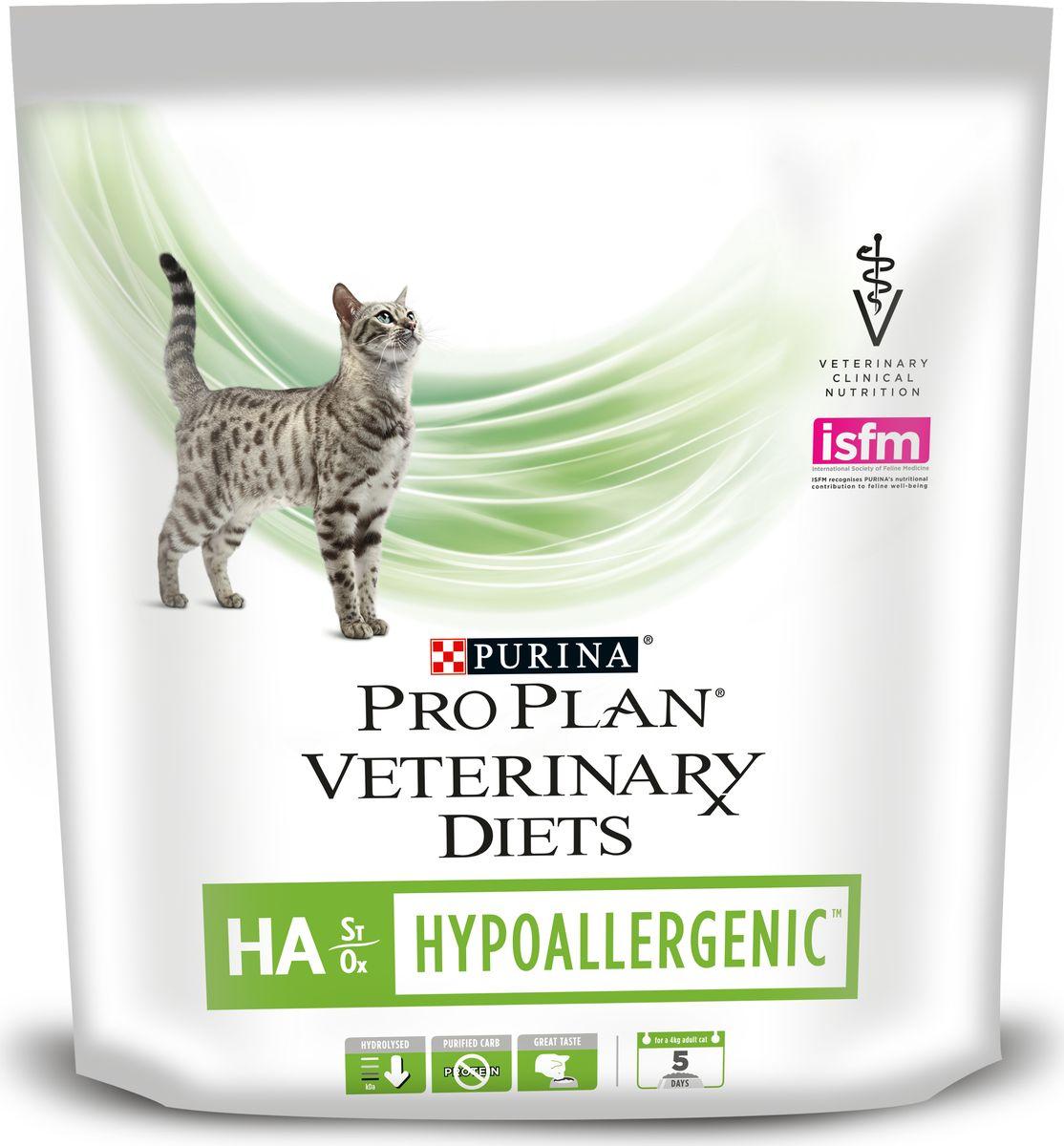 Корм сухой диетический Pro Plan Н/А, для кошек, гипоаллергенный, 325 г12148110Гипоаллергенный корм Pro Plan Н/А предназначен для снижения пищевой непереносимости у кошек и обеспечивает полноценное сбалансированное питание для поддержания здоровья. В составе корма собраны продукты, не вызывающие аллергических реакции и полностью удовлетворяющие пищевые потребности взрослых животных. Показания к применению: - Схема исключения потенциальных пищевых аллергенов. - Дерматит, связанный с алиментарной аллергией.- Недостаточность функции поджелудочной железы.- Нарушение всасываемости. - Воспалительные заболевания кишечника.- Гиперлипидемия. Товар сертифицирован.