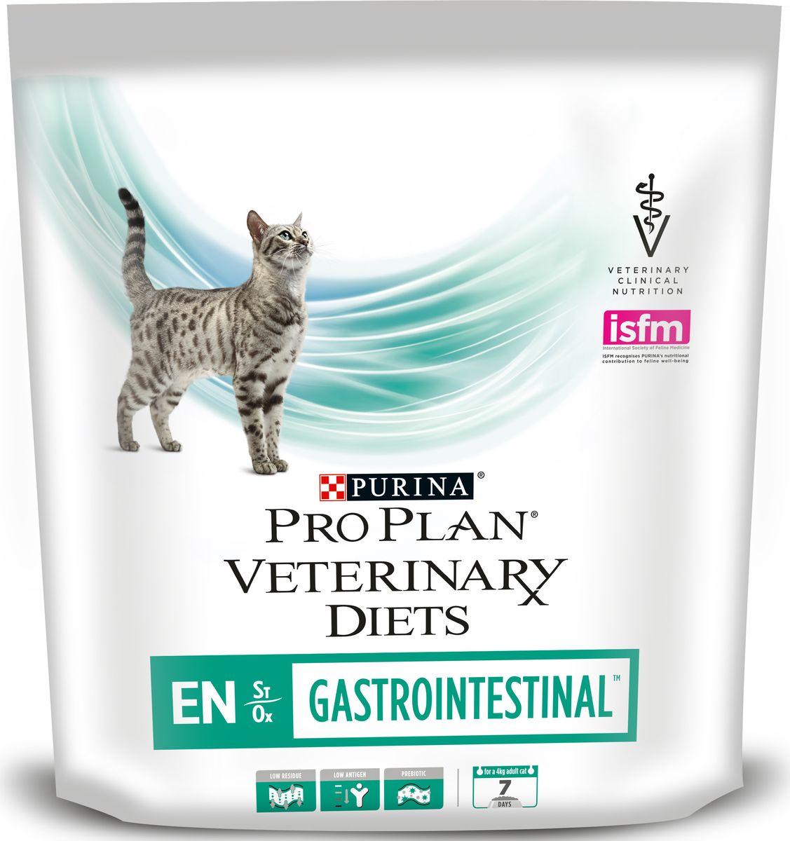 Корм сухой для кошек Purina Veterinary Diets EN, при патологии ЖКТ, 400 г12148079Консервы для кошек Purina Veterinary Diets EN - это полноценное сбалансированное питание при заболевании ЖКТ питомца. Корм с высокой степенью усвояемости и ограниченным уровнем триглицеридов помогает при лечении патологий ЖКТ, удовлетворяет потребности в питательных веществах. Содержание кокосового масла с высоким уровнем жирных кислот со средней цепочкой, обеспечивает энергию для пищеварения и всасывания. Добавленные пребиотики улучшают баланс микрофлоры и стимулируют рост полезных бактерий.Показания к применению:Энтерит, гастрит и диареяНарушение экзокринной функции поджелудочной железыВоспалительные заболевания кишечникаЛимфангиэктазияПанкреатитГиперлипидемияНарушение всасывания и усвояемостиПатология печени, не связанная с энцефалопатией.Состав: изолят белка сои, сухой белок птицы, соевая мука, кукурузный крахмал, животный жир, вкусоароматическая кормовая добавка, инулин (мин. 0,2%), рыбий жир, витамины. Анализ: белок: 40%, жир: 20%, сырая зола: 8,5%, сырая клетчатка: 2,0%, незаменимые жирные кислоты: 4,0%.Добавки на кг: витамин А: 38 000; витамин D3: 700; витамин Е: 650 мг/кг; таурин: 1 500; железо: 270; йод: 2,9; медь: 45; марганец: 120; цинк: 490; селен: 0,26 мг/кг.Товар сертифицирован.
