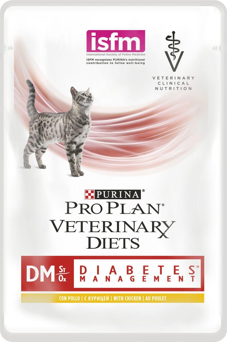 Консервы для кошек Pro Plan Veterinary Diets. DM, при диабете, с курицей, 85 г х 10 шт корм для кошек pro plan veterinary diets dm при диабете с мясом конс пауч 85г