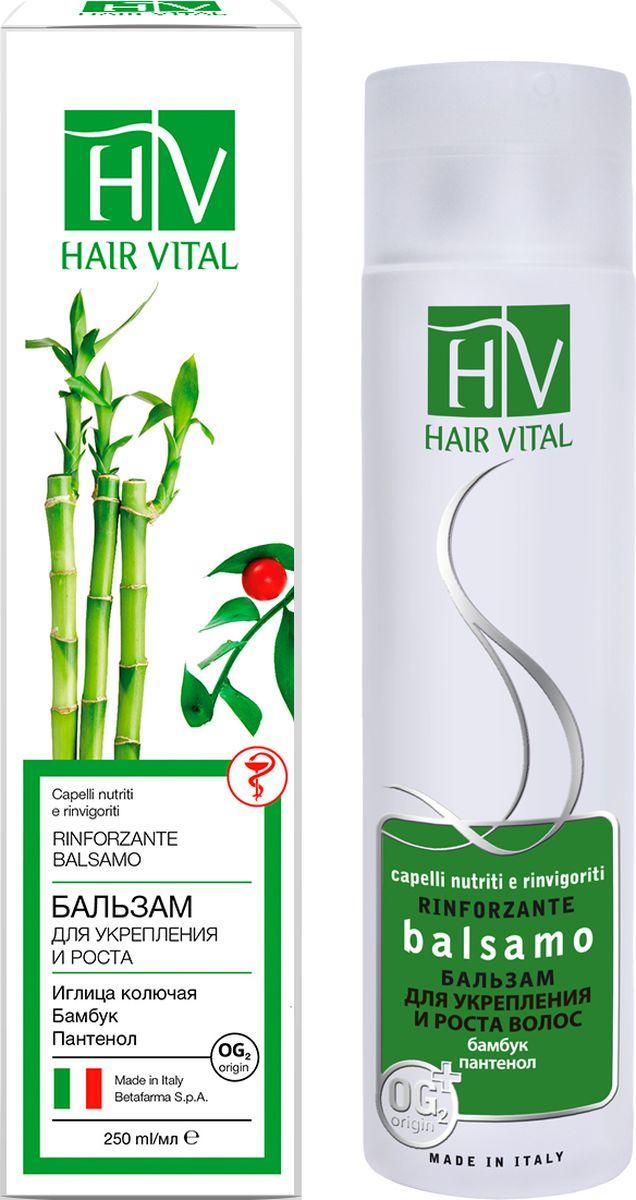 Hair Vital Бальзам для укрепления и роста волос, 250 мл70231Питает и укрепляет волосы • Улучшает микроциркуляцию волосяных фолликулов • Обладает увлажняющим действием • Облегчает расчесывание и укладку• Не склеивает и не утяжеляет волосы Активные компоненты: иглица колючая, бамбук тростниковый, диметикон, пантенол, OG2