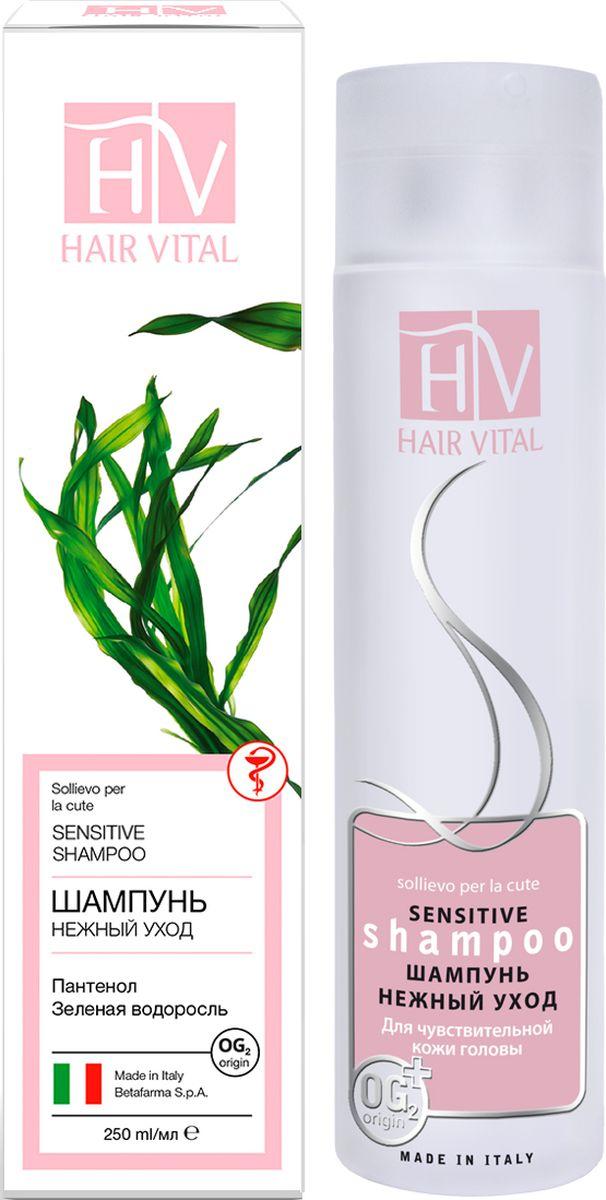 Hair Vital Шампунь для чувствительной кожи головы Нежный уход, 250 мл70580• Бережно очищает волосы и кожу головы • Усиливает процесс регенерации, подавляет воспаление • Нормализует PH баланс кожи головы • Восстанавливает микрорельеф, оказывая смягчающий и разглаживающий эффект на кожу головы • Обладает успокаивающим действием • Интенсивно питает и увлажняет Активные компоненты: экстракт зеленой водоросли, пантенол, OG2