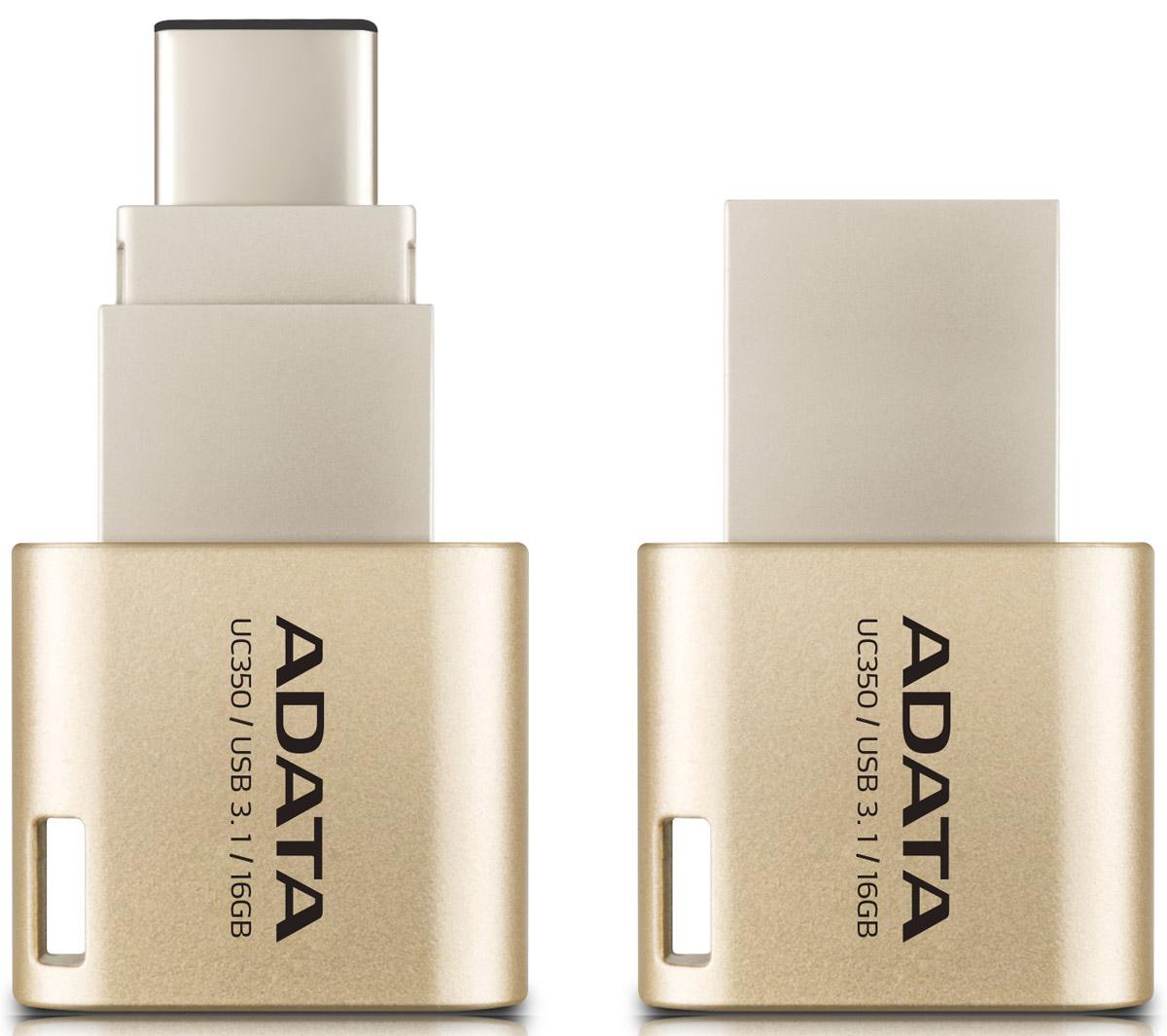 ADATA UC350 16GB, Gold USB-накопитель23529ADATA представляет флэш-накопитель UC350 нового поколения с двумя стандартными разъемами, который гарантирует существенное улучшение двух важнейших характеристик - производительности и удобства хранения данных. Интерфейс USB 3.1 обеспечивает высочайшие скорости передачи, причем накопитель оснащен как обычным USB-разъемом, так и реверсивной вилкой USB типа C, так что вам не придется гадать при его подключении. Флэш-накопитель UC350 может использоваться с ПК, MacBook, устройствами iOS и Android, так что вы получаете действительно универсальный доступ к данным.Разъем USB-C делает жизнь прощеС USB типа C обмен данными становится намного удобней. Нам всем приходилось вертеть USB-разъемы, разбираясь, где тут верх, а где низ. Разъем USB-C - реверсивный, так что теперь гадать не придется. Подключать UC350 к устройствам можно не глядя.U означает - универсальныйУниверсальность - огромное преимущество разъема USB-C, который позволяет использовать компактную и сверхлегкую флэшку UC350 с самыми разными устройствами. Теперь перемещение файлов, снимков, видео и другого контента между компьютерами с Mac OS и Windows, устройствами iOS и Android, стало максимально простым и удобным.Обмен данными с высочайшей скоростьюUC350 предлагает действительно впечатляющие скорости передачи благодаря интерфейсу USB 3.1. Чтение - до 100 MB/s, запись - до 30 MB/s, это приблизительно в два раза выше скорости интерфейса USB 3.0. Вы можете перенести все содержимое 50 ГБ диска Blu-ray буквально за 40 секунд, причем сохраняется полная совместимость с USB 2.0/USB 3.0. UC350 сочетает удобство разъема USB-C и скорость USB 3.1: самая выигрышная комбинация.Мгновенный доступ к большей емкости памятиНеплохо, что устройства - от смартфонов до ультрабуков - становятся все тоньше и легче, однако часто - за счет внутренней памяти. Нужен больший объем? UC350 емкостью до 64 ГБ даст вам столько дополнительной памяти для работы и развлечений, сколько потребуется.Универсальное 