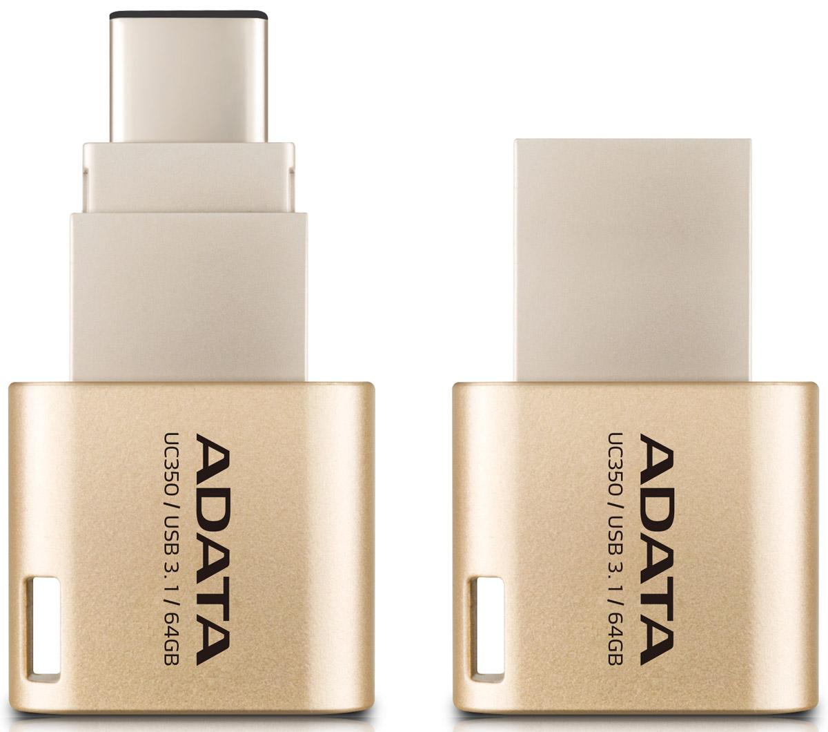 ADATA UC350 64GB, Gold USB-накопитель23531ADATA представляет флэш-накопитель UC350 нового поколения с двумя стандартными разъемами, который гарантирует существенное улучшение двух важнейших характеристик - производительности и удобства хранения данных. Интерфейс USB 3.1 обеспечивает высочайшие скорости передачи, причем накопитель оснащен как обычным USB-разъемом, так и реверсивной вилкой USB типа C, так что вам не придется гадать при его подключении. Флэш-накопитель UC350 может использоваться с ПК, MacBook, устройствами iOS и Android, так что вы получаете действительно универсальный доступ к данным.Разъем USB-C делает жизнь прощеС USB типа C обмен данными становится намного удобней. Нам всем приходилось вертеть USB-разъемы, разбираясь, где тут верх, а где низ. Разъем USB-C - реверсивный, так что теперь гадать не придется. Подключать UC350 к устройствам можно не глядя.U означает - универсальныйУниверсальность - огромное преимущество разъема USB-C, который позволяет использовать компактную и сверхлегкую флэшку UC350 с самыми разными устройствами. Теперь перемещение файлов, снимков, видео и другого контента между компьютерами с Mac OS и Windows, устройствами iOS и Android, стало максимально простым и удобным.Обмен данными с высочайшей скоростьюUC350 предлагает действительно впечатляющие скорости передачи благодаря интерфейсу USB 3.1. Чтение - до 100 MB/s, запись - до 30 MB/s, это приблизительно в два раза выше скорости интерфейса USB 3.0. Вы можете перенести все содержимое 50 ГБ диска Blu-ray буквально за 40 секунд, причем сохраняется полная совместимость с USB 2.0/USB 3.0. UC350 сочетает удобство разъема USB-C и скорость USB 3.1: самая выигрышная комбинация.Мгновенный доступ к большей емкости памятиНеплохо, что устройства - от смартфонов до ультрабуков - становятся все тоньше и легче, однако часто - за счет внутренней памяти. Нужен больший объем? UC350 емкостью до 64 ГБ даст вам столько дополнительной памяти для работы и развлечений, сколько потребуется.Универсальное 