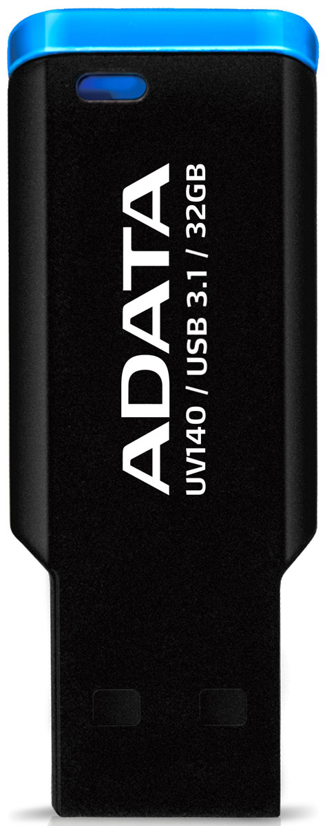 ADATA UV140 32GB, Black Blue USB-накопитель23323Оснащенная уникальной мини-застежкой и выпускаемая в компактном корпусе без крышки с высокоскоростнымразъемом USB 3.1, сверхлегкая флэшка ADATA UV140 весьма эффективна, удобна и проста в использовании. Сфлэшкой UV140 у вас начнется совершенно другая жизнь!Удобный накопитель с застежкойUV140 сверху оборудована мини-застежкой и может легко пристегиваться к папкам, книгам, ремешкам и к чемуугодно. Компактная и удобная флэшка UV140 - это аксессуар для успешных людей. Удобный для переноски безколпачковый дизайн с отверстием для шнуркаБезколпачковый дизайн UV140 означает, что вам не придется беспокоиться о потере крышки. Через отверстиена конце флэшки UV140 ее можно прикрепить к брелоку для ключей, и она станет удобным спутником вашейжизни.Легкая и компактная, качественная и универсальнаяМатовое покрытие корпуса UV140 - немаркое и нецарапаемое. Это компактное, легко пристегивающееся иотстегивающееся устройство имеет длину всего 4,3 мм и ширину 8 мм.Флэшка UV140 оснащена USB-разъемом, отвечающим требованиям высокоскоростного стандарта USB 3.1,который обеспечивает высокие скорости передачи и полностью совместим со стандартом USB 2.0. Выпускаютсямодели UV140 емкостью в 16 ГБ, 32 ГБ и 64 ГБ для более полного удовлетворения ваших потребностей внакопителях с различным объемом памяти.Интерфейс: USB 3.1 (обратно совместим с USB 2.0) Системные требования: Windows 2000/XP/Vista/7/8/8.1/10Mac OS X 10.6 (и выше) Linux Kernel 2.6 (и выше)
