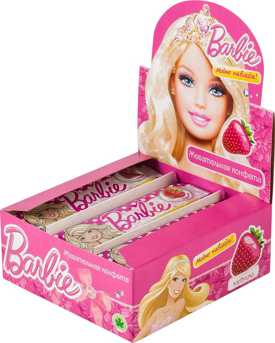Barbie клубника жевательная конфета, 11 г пюре спеленок пюре цветная капуста с 4 мес 125 г
