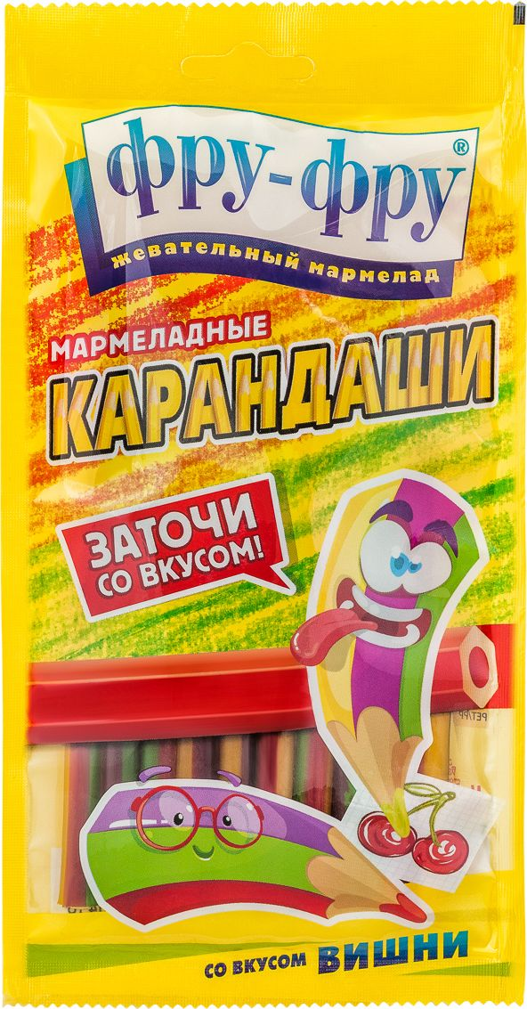 Фру-Фру карандаши вишня жевательный мармелад, 85 г фру фру жевательный мармелад кислые ремни яблоко 85 г