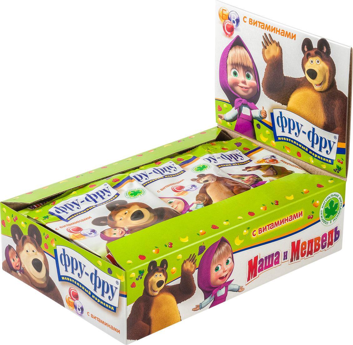 Фру-Фру Маша и Медведь Азбука мармелад жевательный с витаминами, 720 г (24 шт) фру фру жевательный мармелад кислые ремни яблоко 85 г