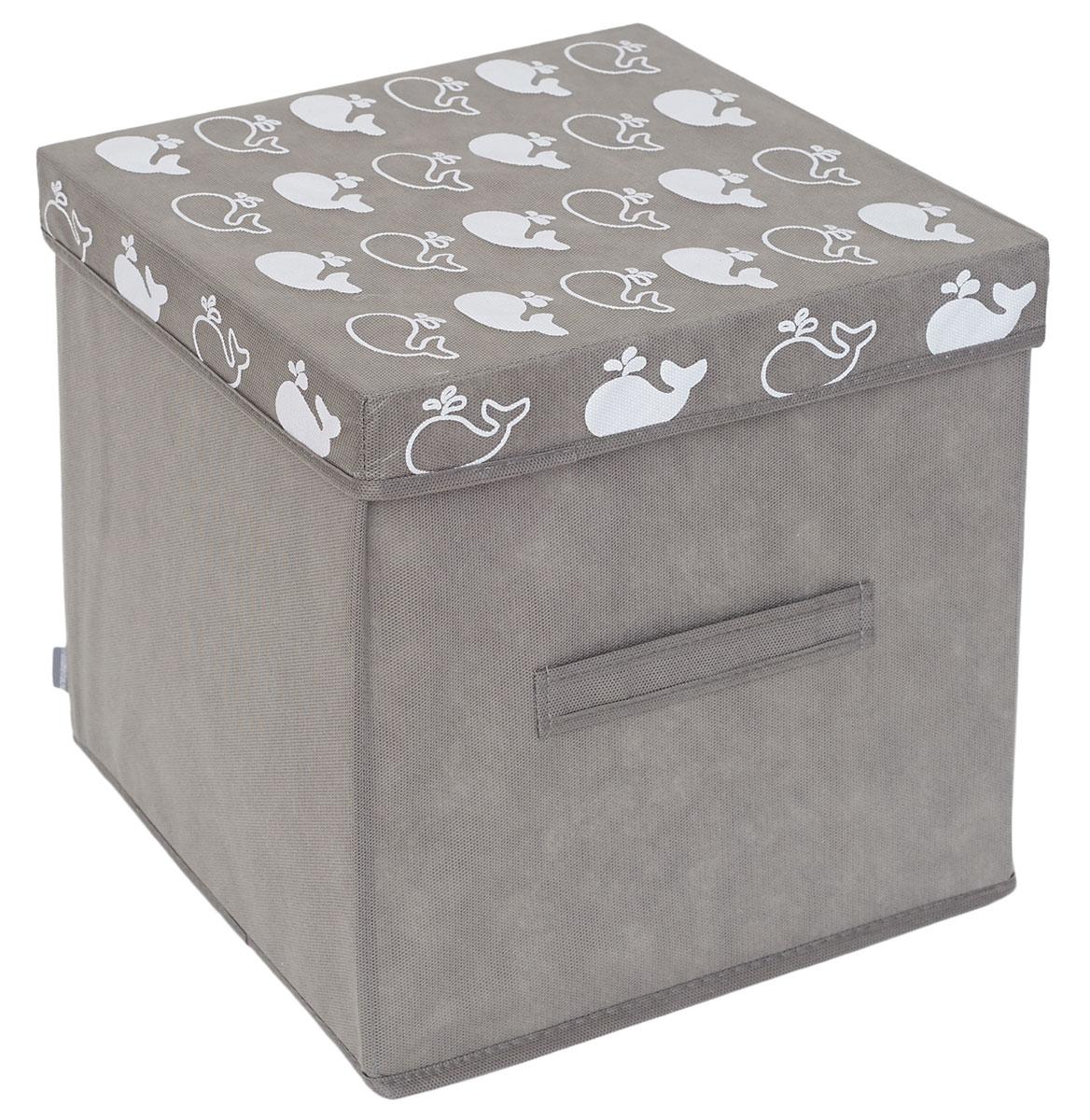 Коробка для вещей и игрушек с крышкой Все на местах Insta. Киты, 30 х 30 х 30 см1017036Удобный короб для вещей и игрушек с крышкой сохранит все семейные сокровища. Подойдет для компактного хранения канцелярии, счетов, документов, небольших игрушек и коробочек с паззлами, лего и прочего. Поможет сохранить хрупкие или мнущиеся вещи
