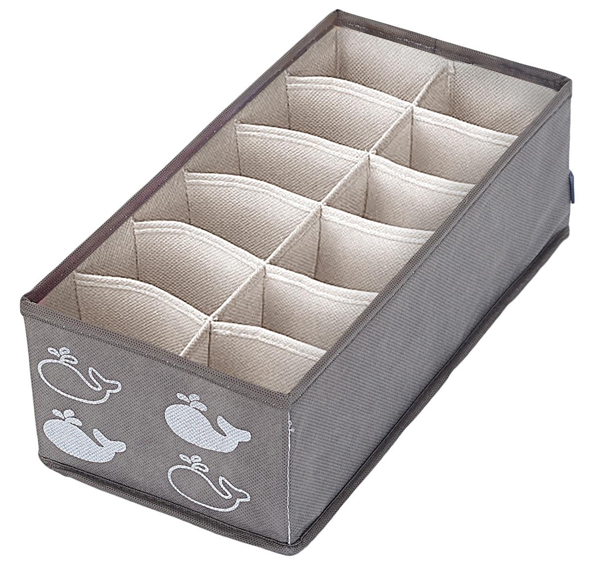 Органайзер Все на местах Insta. Киты, 32 х 16 х 11 см, 12 ячеек1017047Даже если у вас в шкафу не очень много места, этот небольшой органайзер позволит держать ваше нижнее белье в идеальном порядке.