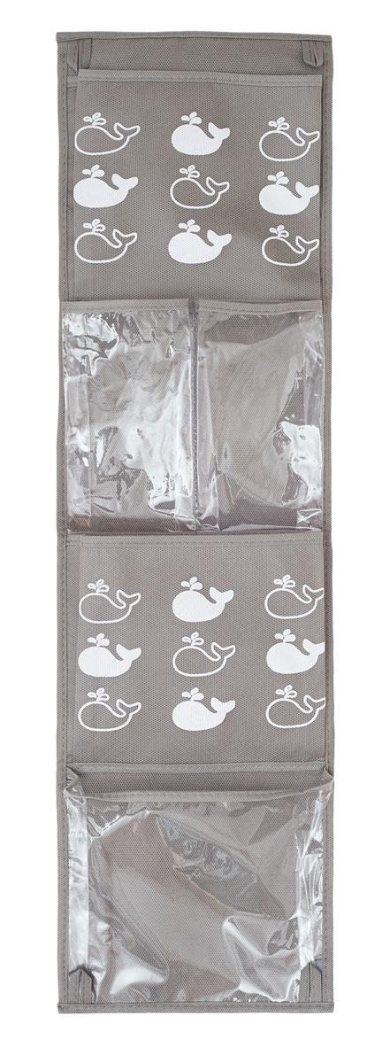 """Практичный органайзер с кармашками Все на местах """"Insta. Киты"""" станет  помощником для детей, родителей и воспитателей в детском саду.  Изготовлено изделие из высококачественного нетканого материала (спанбонда) и ПВХ.  Органайзер занимает мало места, он компактно поместится в детском шкафчике. Для комфорта  сверху и снизу предусмотрены небольшие петельки. В органайзер поместятся все необходимые  ребенку принадлежности, а также небольшие игрушки."""