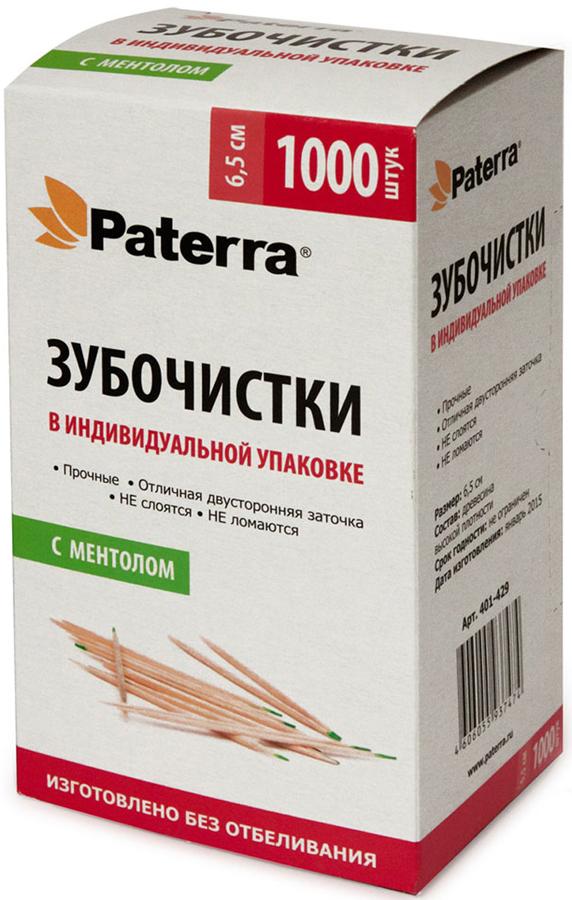 """Деревянные зубочистки """"Paterra"""" с ментолом изготовлены без отбеливания   Каждая зубочистка """"Paterra"""" в индивидуальной упаковке.  - Прочные. - Острая заточка. Длина зубочистки: 6,5 см."""