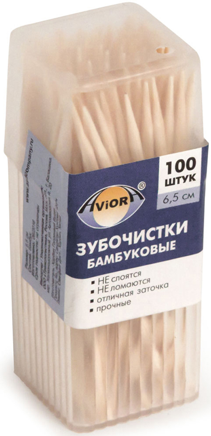 Зубочистки Aviora, бамбуковые, 100 шт401-485Зубочистки Aviora предназначены для чистки зубов после приема пищи.- изготовлены из бамбука; - прочные, не слоятся и не ломаются; - острая двухсторонняя заточка.