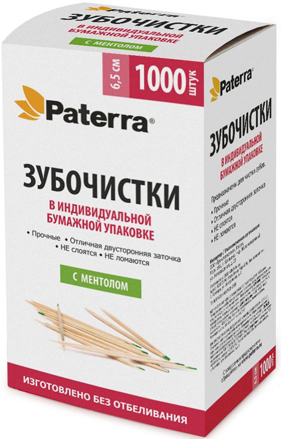 Зубочистки Paterra, деревянные, с ментолом, 1000 шт. 401-558 paterra