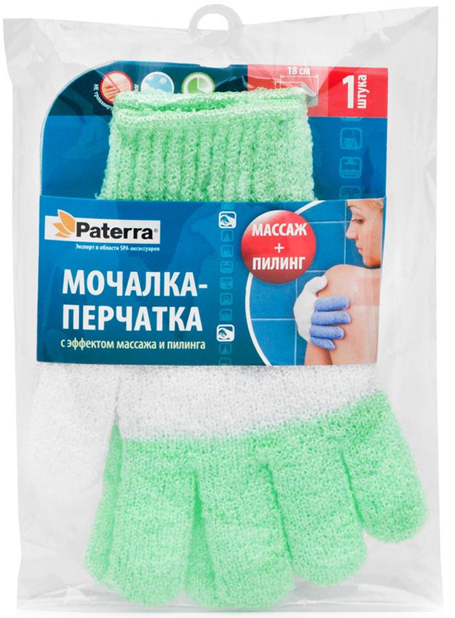 Мочалка-перчатка Paterra, цвет: светло-зеленый, 12 х 18 см бинки мочалка на руку д детей перчатка 25х21см