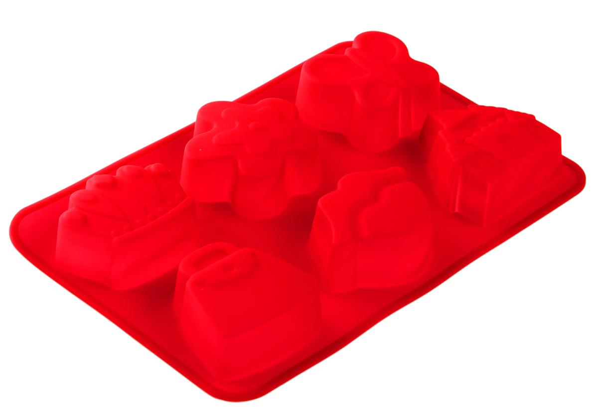 Форма для выпечки Доляна Ассорти, 24 х 16,5 х 3 см, 6 ячеек, цвет: красный1057182_красныйФорма для выпечки из силикона - современное решение для практичных и радушных хозяек.Оригинальный предмет позволяет готовить в духовке любимые блюда из мяса, рыбы, птицы иовощей, а также вкуснейшую выпечку. Почему это изделие должно быть на кухне? - блюдо сохраняет нужную форму и легко отделяется от стенок после приготовления; - высокая термостойкость (от -40°C до 230°C) позволяет применять форму в духовых шкафах иморозильных камерах; - небольшая масса делает эксплуатацию предмета простой даже для хрупкой женщины; - силикон пригоден для посудомоечных машин; - высокопрочный материал делает форму долговечным инструментом; - при хранении предмет занимает мало места. Советы по использованию формы: Перед первым применением промойте предмет теплой водой. В процессе приготовления используйте кухонный инструмент из дерева, пластика или силикона.Перед извлечением блюда из силиконовой формы дайте ему немного остыть, осторожноотогните края предмета. Готовьте с удовольствием!