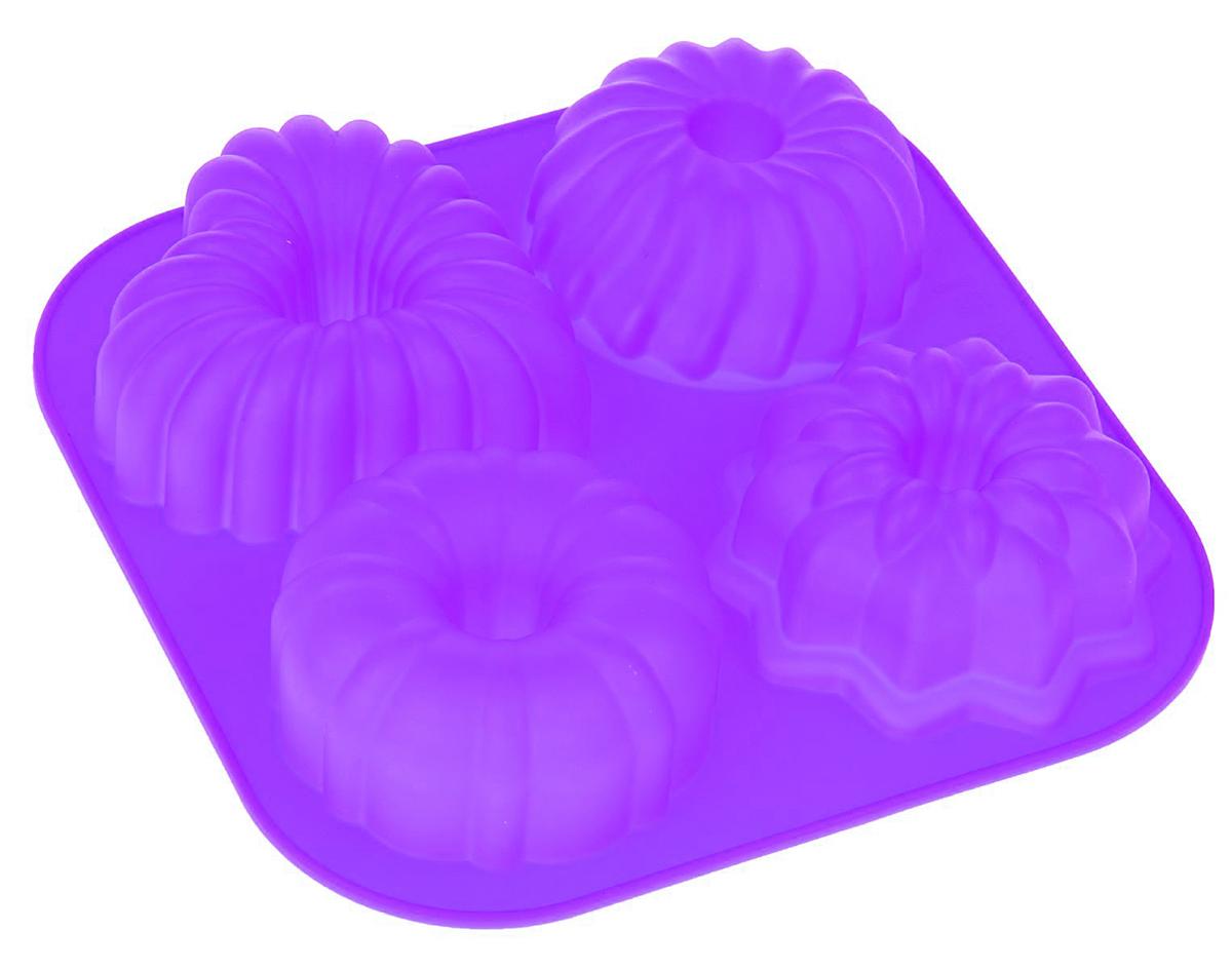 Форма для выпечки Доляна Сладость, цвет: фиолетовый, 17 х 17 см, 4 ячейки811896_фиолетовый