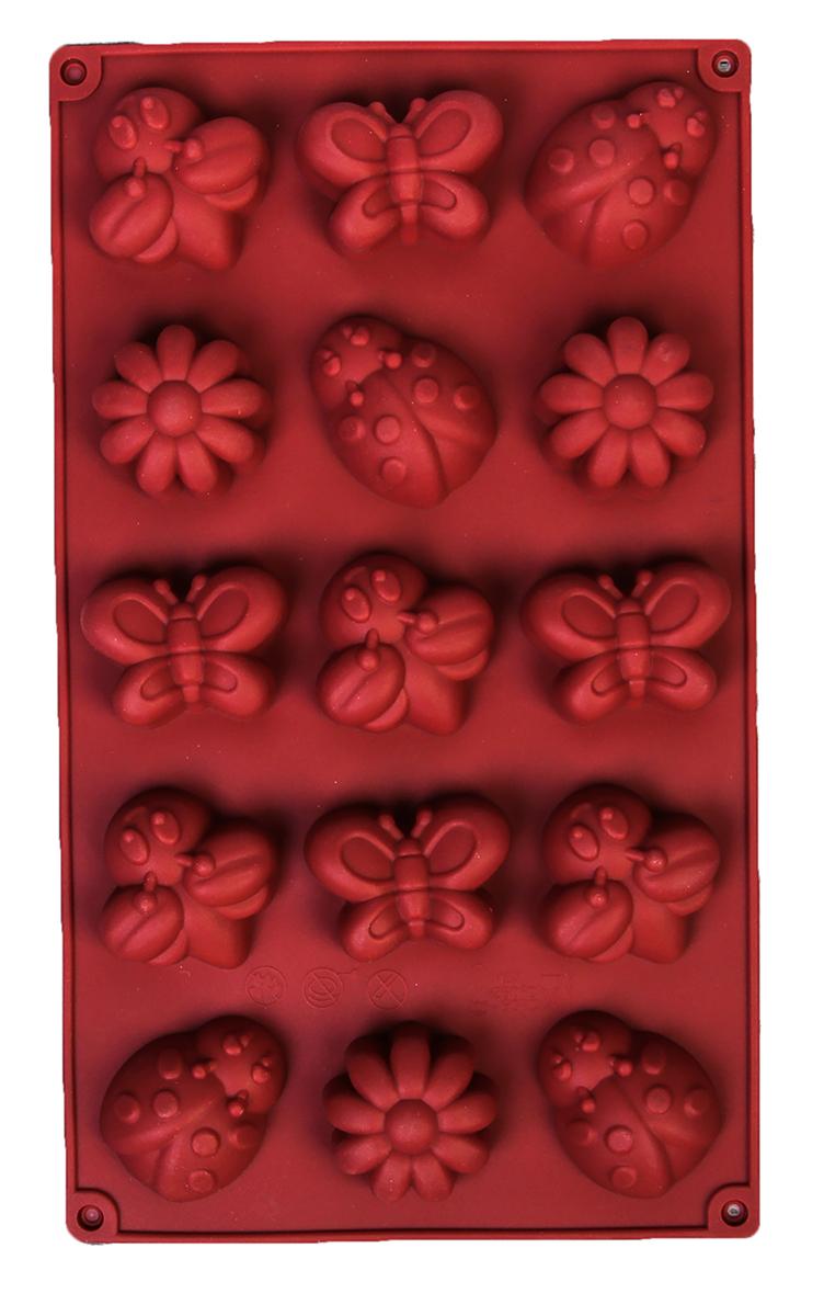 Форма для выпечки Доляна Букашки, цвет: коричневый, 29 х 17 х 2 см, 15 ячеек1057081_коричневыйФорма для выпечки из силикона - современное решение для практичных и радушных хозяек. Оригинальный предмет позволяет готовить в духовкелюбимые блюда из мяса, рыбы, птицы и овощей, а также вкуснейшую выпечку. Преимущества формы для выпечки:Блюдо сохраняет нужную форму и легко отделяется от стенок после приготовления; Высокая термостойкость (от -40°C до 230°C) позволяет применять форму в духовых шкафах и морозильных камерах; - Небольшая масса делает эксплуатацию предмета простой даже для хрупкой женщины; - Силикон пригоден для посудомоечных машин; - Высокопрочный материал делает форму долговечным инструментом; - При хранении предмет занимает мало места. С силиконовыми формами легко фантазировать и придумывать новые рецепты. В формах так же можно заморозить сок или приготовить мини порции мороженого, желе, мармелада, шоколада или другого десерта. Заморозив настой из трав, можно использовать его в косметологических целях.