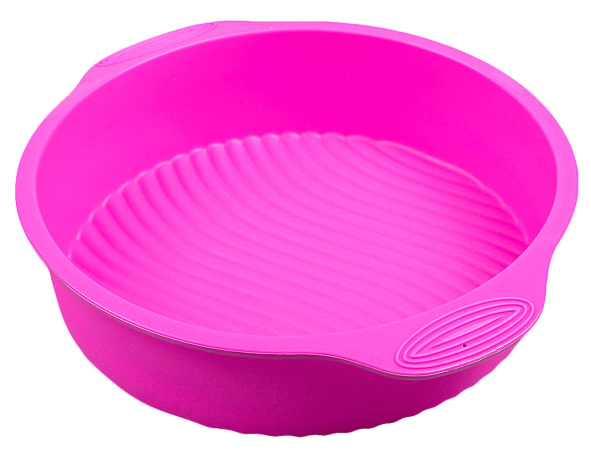 Форма для выпечки Доляна Круг с ручками, цвет: розовый, 28,5 х 25 х 6 см118940_розовыйФорма для выпечки из силикона - современное решение для практичных и радушных хозяек. Оригинальный предмет позволяет готовить в духовке любимые блюда из мяса, рыбы, птицы и овощей, а также вкуснейшую выпечку.Преимущества формы для выпечки: - блюдо сохраняет нужную форму и легко отделяется от стенок после приготовления; - высокая термостойкость (от -40 до 230° C) позволяет применять форму в духовых шкафах и морозильных камерах; - небольшая масса делает эксплуатацию предмета простой даже для хрупкой женщины; - силикон пригоден для посудомоечных машин; - высокопрочный материал делает форму долговечным инструментом; - при хранении предмет занимает мало места.