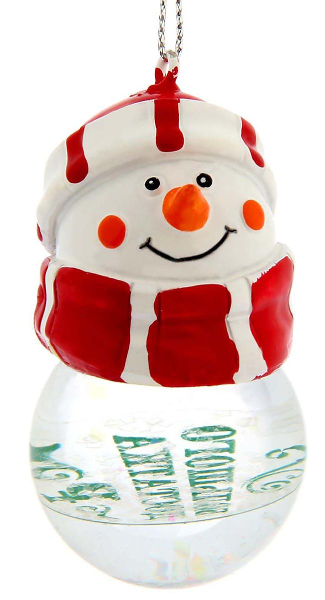 Новогоднее подвесное украшение Sima-land Большого достатка. Снеговик, светящееся, 6,3 см новогоднее подвесное украшение собака ф21 1716
