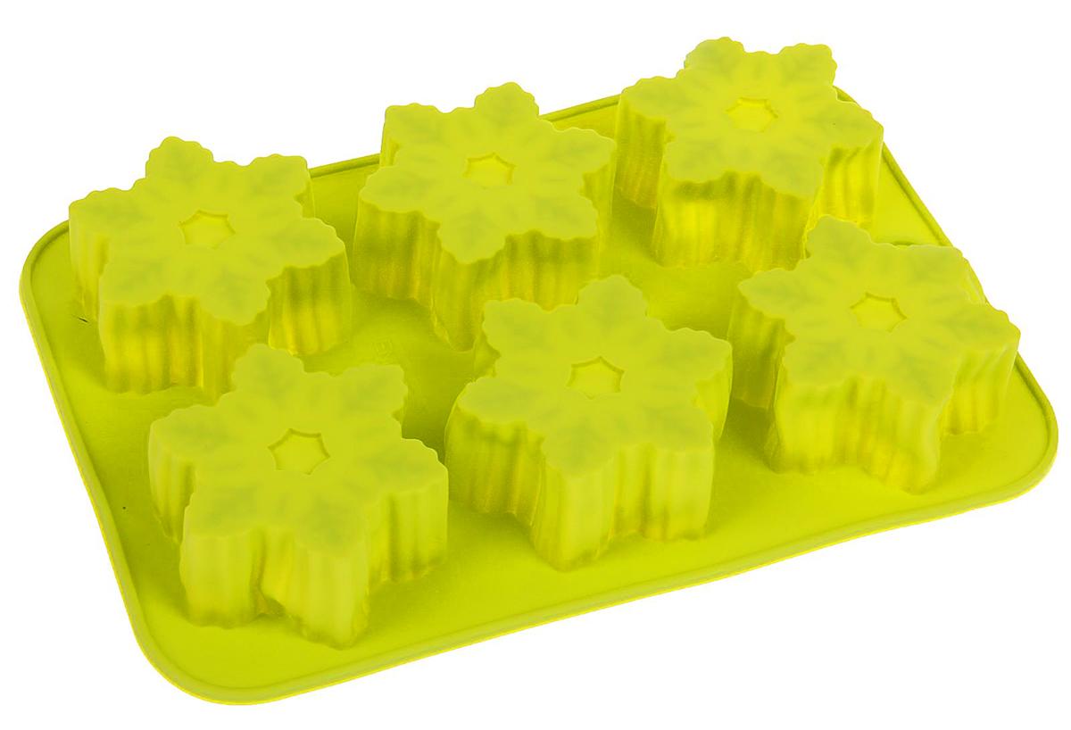 Форма для выпечки Доляна Снежинки, цвет: желтый, 25 х 17 х 3,5 см, 6 ячеек630808_желтыйФорма для выпечки из силикона - современное решение для практичных и радушных хозяек. Оригинальный предмет позволяет готовить в духовке любимые блюда из мяса, рыбы, птицы и овощей, а также вкуснейшую выпечку.Почему это изделие должно быть на кухне?- блюдо сохраняет нужную форму и легко отделяется от стенок после приготовления;- высокая термостойкость (от -40 до 230 градусов) позволяет применять форму в духовых шкафах и морозильных камерах;- небольшая масса делает эксплуатацию предмета простой даже для хрупкой женщины;- силикон пригоден для посудомоечных машин;- высокопрочный материал делает форму долговечным инструментом;- при хранении предмет занимает мало места.