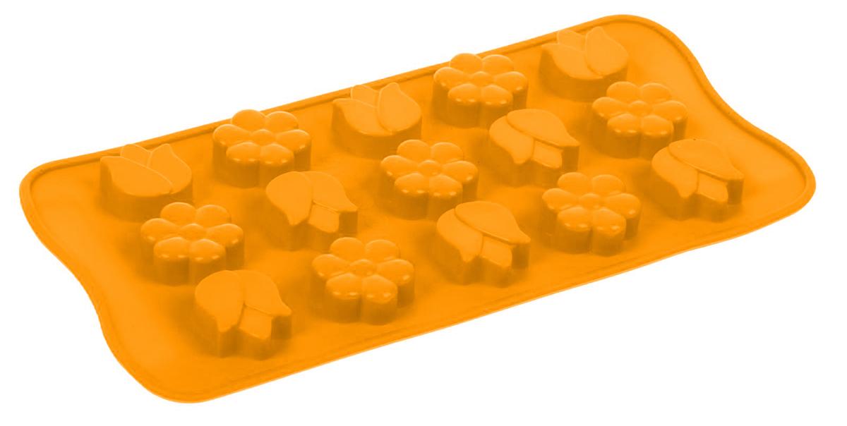 "Форма для льда и шоколада Доляна ""Цветы"", цвет: оранжевый, 15 ячеек, 21 х 10 х 1,5 см"