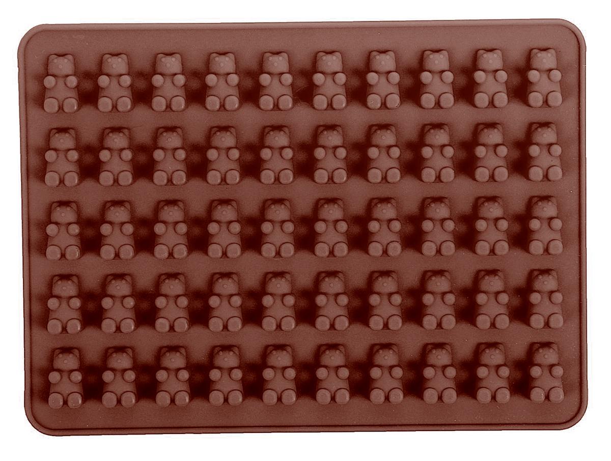 Форма для мармелада Доляна Сладкие мишки, цвет: коричневый, 50 ячеек, 18,8 х 13,8 х 0,9 см1857436_коричневыйСиликон не теряет эластичности при отрицательных температурах (до - 40°С),поэтому, готовые льдинки легко достаются из формы и не крошатся. Ледполучается идеальной формы. С силиконовыми формами для льда легкофантазировать и придумывать новые рецепты. В формах можно заморозитьсок или приготовить мини порции мороженого, желе, мармелада, шоколадаили другого десерта. Особенно эффектно выглядят льдинки сзамороженными внутри ягодами или дольками фруктов. Заморозив настой изтрав, можно использовать его в косметологических целях.