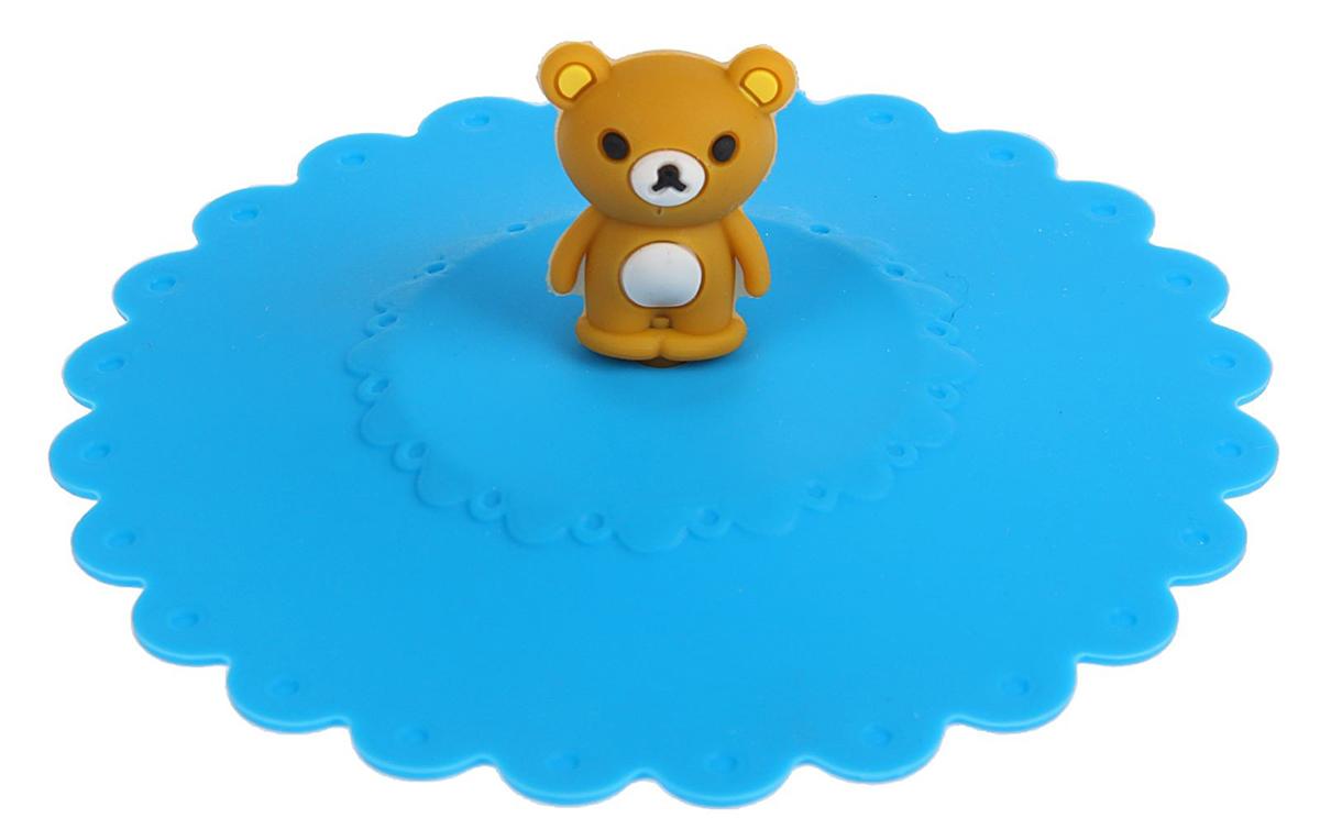 Крышка Доляна Мишка, цвет: голубой, 11 см811982_голубой