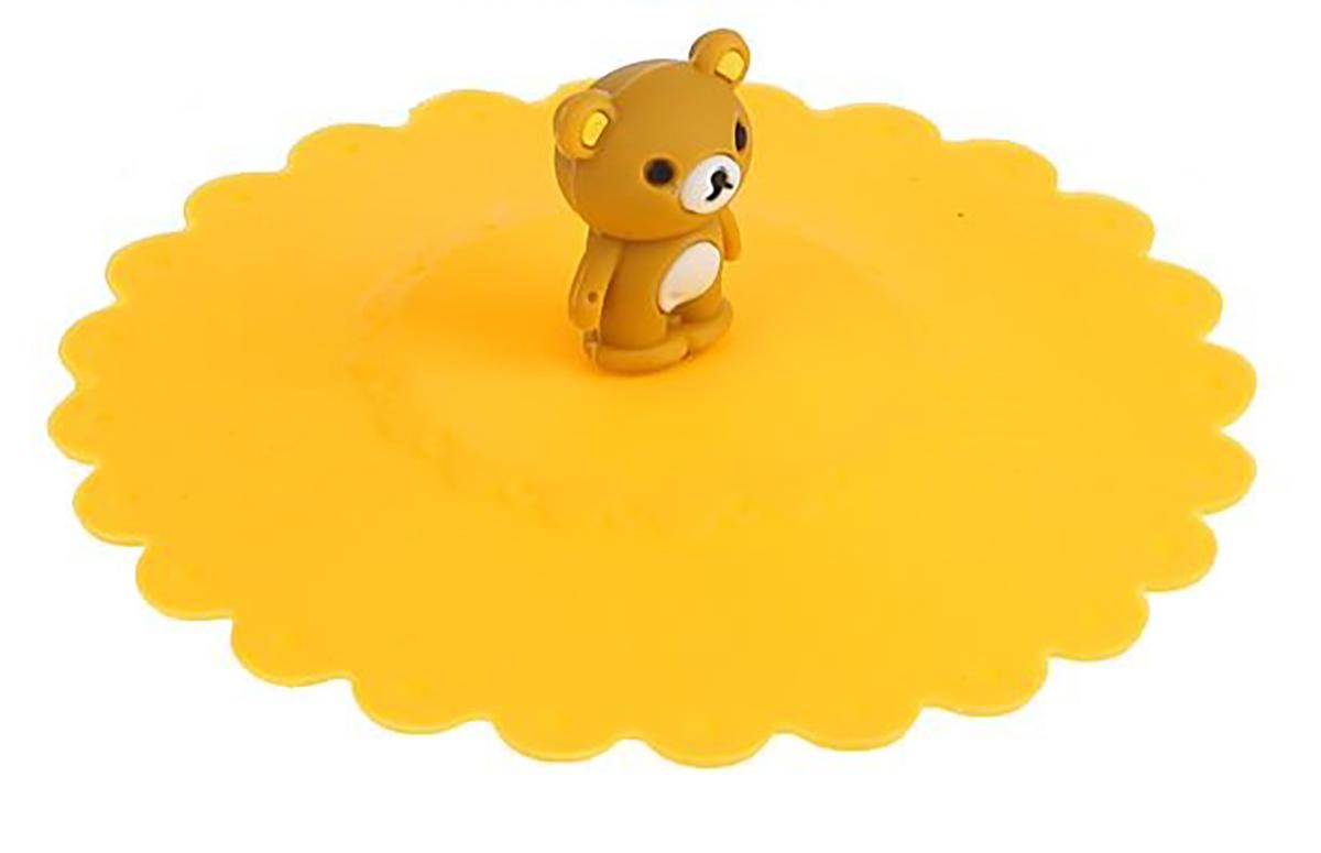Крышка Доляна Мишка, цвет: желтый, 11 см811982_желтый
