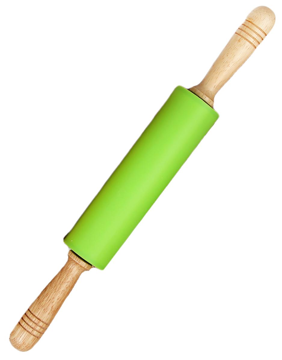Скалка Доляна Валенсия, цвет: салатовый, 43 х 5,5 см118934_салатовыйСкалка Доляна Валенсия необходимый на кухне предмет. Изделие из силикона представляетсобой усовершенствованную версию привычного инструмента. Яркий дизайн делает предметукрашением арсенала каждого повара. Готовку облегчают удобные ручки. Преимущества: - легко отмывается, не впитывает запахи и не требует особого ухода; - тесто не прилипает к поверхности, поэтому дополнительной присыпки мукой не требуется; - помогает быстрее раскатывать даже замерзший продукт; - не царапает поверхность, можно раскатывать прямо на столешнице.