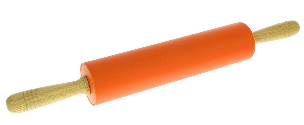 Скалка Доляна Валенсия, цвет: оранжевый, 52 х 6,5 см1569766_оранжевыйСкалка - необходимый на кухне предмет. Изделие из силикона представляет собой усовершенствованную версию привычного инструмента. Яркий дизайн делает предмет украшением арсенала каждого повара. Готовку облегчают удобные ручки.