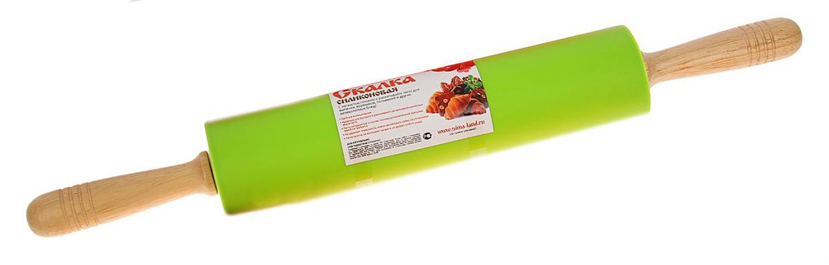 Скалка Доляна Валенсия, цвет: салатовый, 52 х 6,5 см1569766_салатовыйСкалка Доляна Валенсия необходимый на кухне предмет. Изделие из силикона представляетсобой усовершенствованную версию привычного инструмента. Яркий дизайн делает предметукрашением арсенала каждого повара. Готовку облегчают удобные ручки. Преимущества: - легко отмывается, не впитывает запахи и не требует особого ухода; - тесто не прилипает к поверхности, поэтому дополнительной присыпки мукой не требуется; - помогает быстрее раскатывать даже замерзший продукт; - не царапает поверхность, можно раскатывать прямо на столешнице.