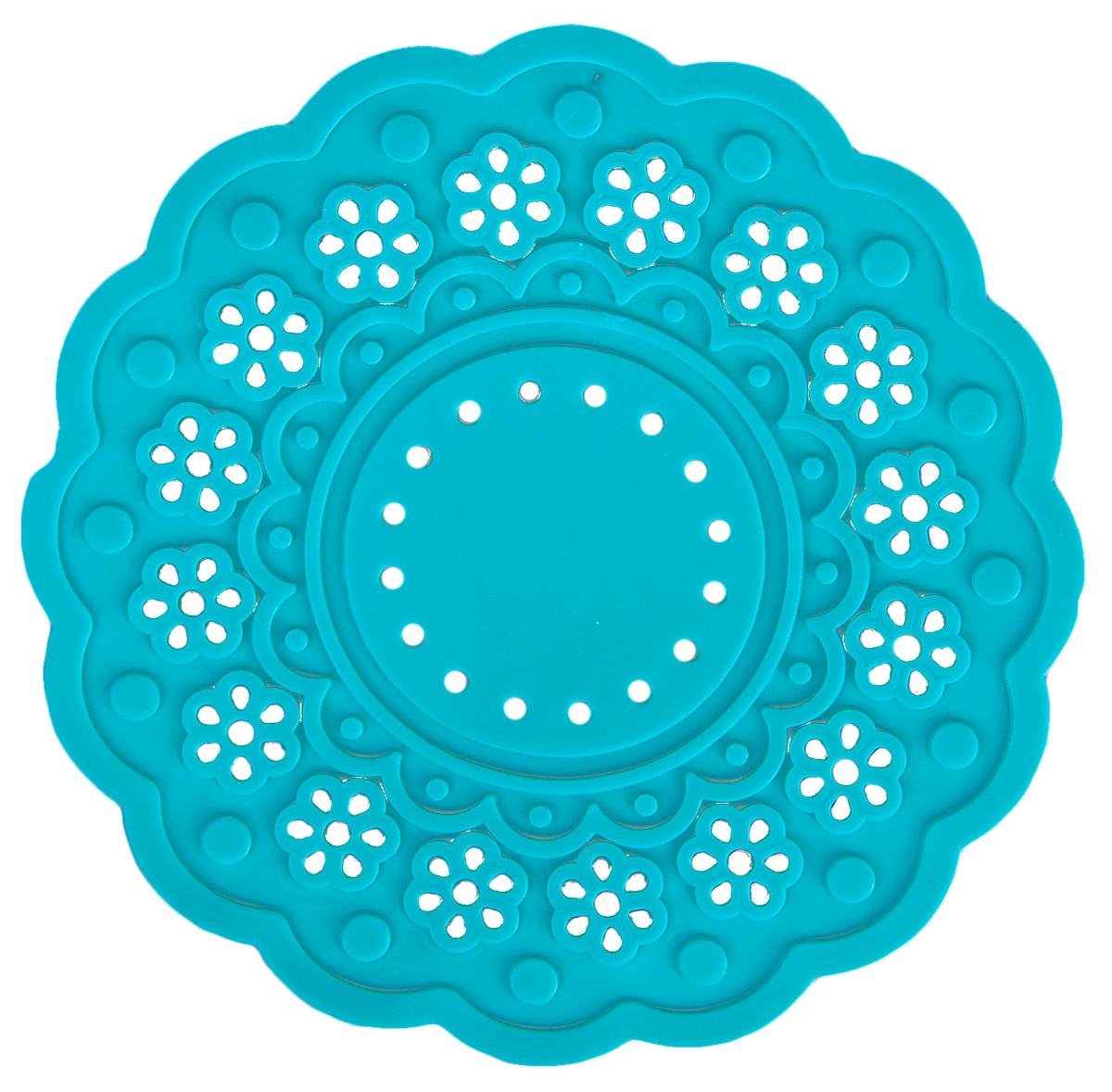 Набор подставок под горячее Доляна Затея, цвет: бирюзовый, 10 см, 4 шт столы