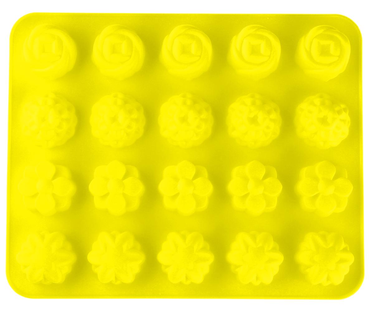 Форма для выпечки Доляна Садовый двор, цвет: желтый, 32 х 24 см, 20 ячеек114051_желтый_желтыйФорма для выпечки из силикона - современное решение для практичных и радушных хозяек. Оригинальный предмет позволяет готовить в духовке любимые блюда из мяса, рыбы, птицы и овощей, а также вкуснейшую выпечку.Блюдо сохраняет нужную форму и легко отделяется от стенок после приготовления; высокая термостойкость (от –40 до 230 градусов) позволяет применять форму в духовых шкафах и морозильных камерах; небольшая масса делает эксплуатацию предмета простой даже для хрупкой женщины; силикон пригоден для посудомоечных машин; высокопрочный материал делает форму долговечным инструментом; при хранении предмет занимает мало места. Советы по использованию формы.Перед первым применением промойте предмет тёплой водой.В процессе приготовления используйте кухонный инструмент из дерева, пластика или силикона. Перед извлечением блюда из силиконовой формы дайте ему немного остыть, осторожно отогните края формы.Готовьте с удовольствием!