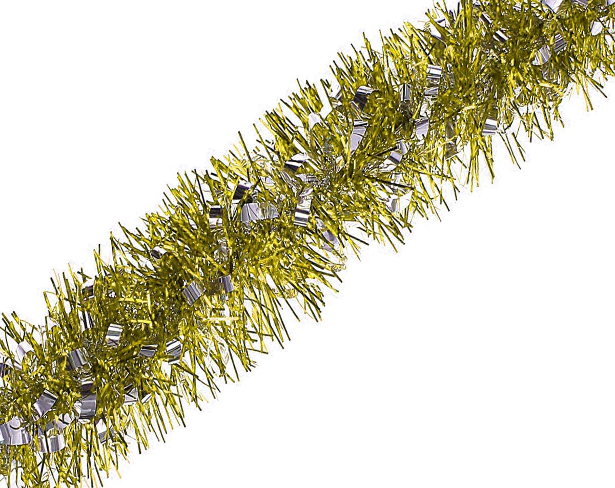 Мишура новогодняя Sima-land, цвет: желтый, серебристый, диаметр 9,6 см, длина 2 м. 706594706594_желтый, серебристыйМишура новогодняя Sima-land, выполненная из фольги, поможет вам украсить свой дом к предстоящим праздникам. Мишура армирована, то есть имеет проволоку внутри и способна сохранять приданную ей форму. Новогодняя елка с таким украшением станет еще наряднее. Новогодней мишурой можно украсить все, что угодно - елку, квартиру, дачу, офис - как внутри, так и снаружи. Можно сложить новогодние поздравления, буквы и цифры, мишурой можно украсить и дополнить гирлянды, можно выделить дверные колонны, оплести дверные проемы.