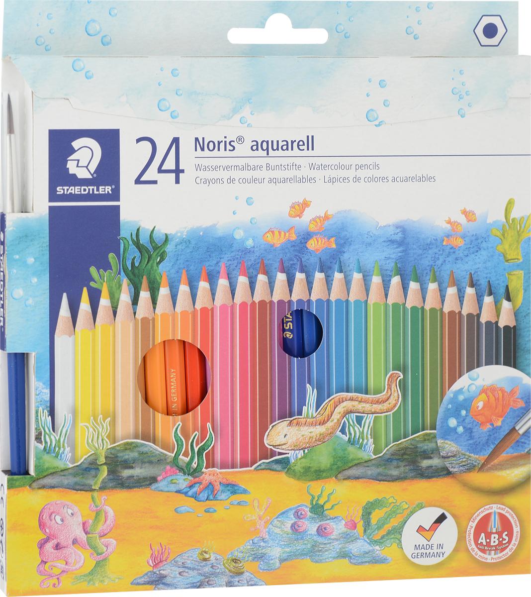 Staedtler Набор акварельных карандашей Noris Club с кисточкой 24 цвета14410NC24Набор цветных карандашей Staedtler Noris Club предназначен для школы и творческихмастерских.Хорошо размываются водой.Цветалегко смешиваются между собой, можно получить практически любой оттенок, при желаниидобившись нежного эффекта акварели. Интересный эффект достигается, когда рисунок наносится на предварительно смоченныйкартон или бумагу.Карандаши шестиграннойформы, корпус выполнен из натурального дерева. Грифель, даже при падении карандаша, неломается, так как надежно защищен системой ABS(anti breakage system) - дополнительным белым слоем.В комплекте идет кисточка с защитнымколпачком.Акварельные карандашисоответствуют всем европейским стандартам.Уважаемые клиенты! Обращаем ваше внимание на то, что упаковка может иметь несколько видовдизайна.Поставка осуществляется в зависимости от наличия на складе.