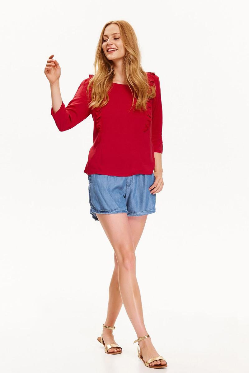 Блузка женская Top Secret, цвет: красный. SBD0735RO. Размер 34 (42)SBD0735ROЖенская блузка Top Secret выполнена из натуральной вискозы. Модель с округлым вырезом горловины и рукавами 3/4 спереди на полочке оформлена рюшами.