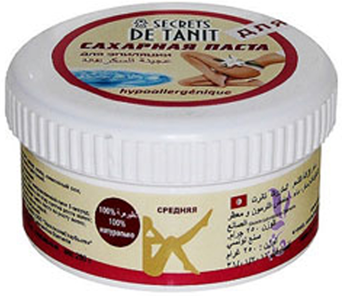 Secrets de Tanit Сахарная паста для эпиляции, гипоаллергенная, 250 г00000000059100% натуральное средство для удаления волос со всех участков тела. Гипоаллергенно! Средняя консистенция.Преимущества шугаринга:1. Паста наносится против роста волоса, снимается по росту (тем самым волос не обламывается, а вырывается с корнем, что предотвращает врастание волоса);2. Температура пасты при нанесении равна температуре тела, что исключает гипертермию кожи, что позволяет наносить ее на самые чувствительные зоны;3. Волос удаляется минимальной длины (от 3 мм);4. Разная плотность паст позволяет удалять волос от пушкового до забритого жесткого;5. Деликатное мануальное воздействие способствует вместе с удалением волоса проводить деликатный пилинг - удаление мертвых клеток, что делает кожу гладкой и шелковистой;6. Минимальные дискомфортные ощущения во время процедуры позволяют проводить ее беременным женщинам и людям с расширенной сосудистой сеткой на ногах.7. Остатки пасты смываются водой, так как сахарная паста водорастворима.8. В состав пасты входят вода, сахар, лимонный сок, что свидетельствуето натуральностисостава.9. Шугаринг- это безопасная и гигиеничная процедура так как паста не вызывает аллергии, не используется вторично, не противопоказана даже людям, страдающим диабетом. Высокая концентрация сахара препятствует появлению бактерий. Товар сертифицирован.