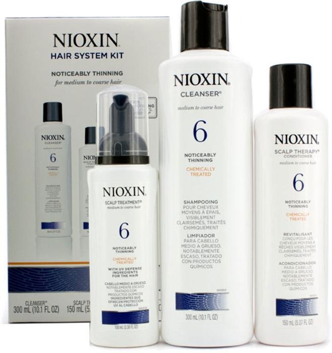 Nioxin System Набор (Система 6) 6 Kit 150 мл+150 мл+40 мл81274211В набор входят: Шампунь Очищение 150 мл - придающий объём очиститель Кондиционер Увлажнение 150 мл - придающий объём кондиционер Маска Питание 40 мл - придающая объём и питающая волосы маска Все средства обеспечивают деликатный уход за волосами и кожей головы, питая их и защищая от неблагоприятных воздействий окружающей среды.