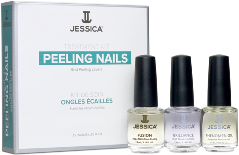 Jessica Набор для слоящихся ногтей Peeling Nail Kit (Mini) (Fusion + Brilliance + Phenomen Oil) jessica лак для ногтей hotter than hibiscus jessica custom nail colour upc 714 14 8 мл