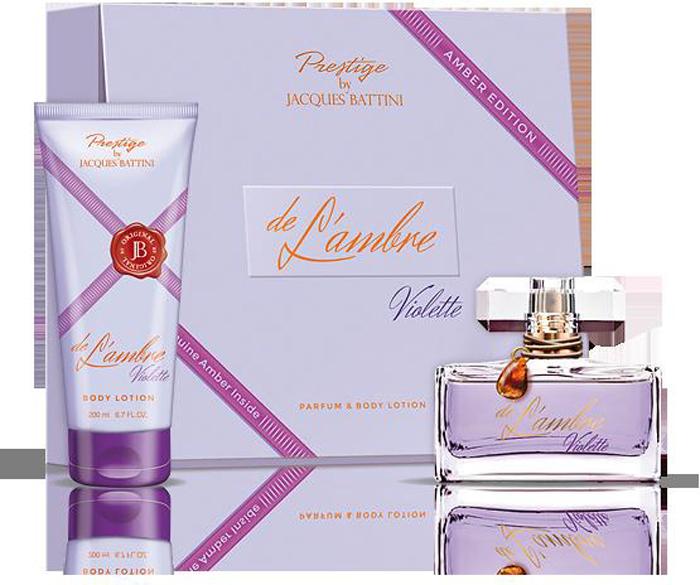 Jacgues Battini Cosmetics Подарочный Набор (Духи для женщин De L'ambre Violette 50мл + лосьон для тела De L'ambre Violette 200 мл)