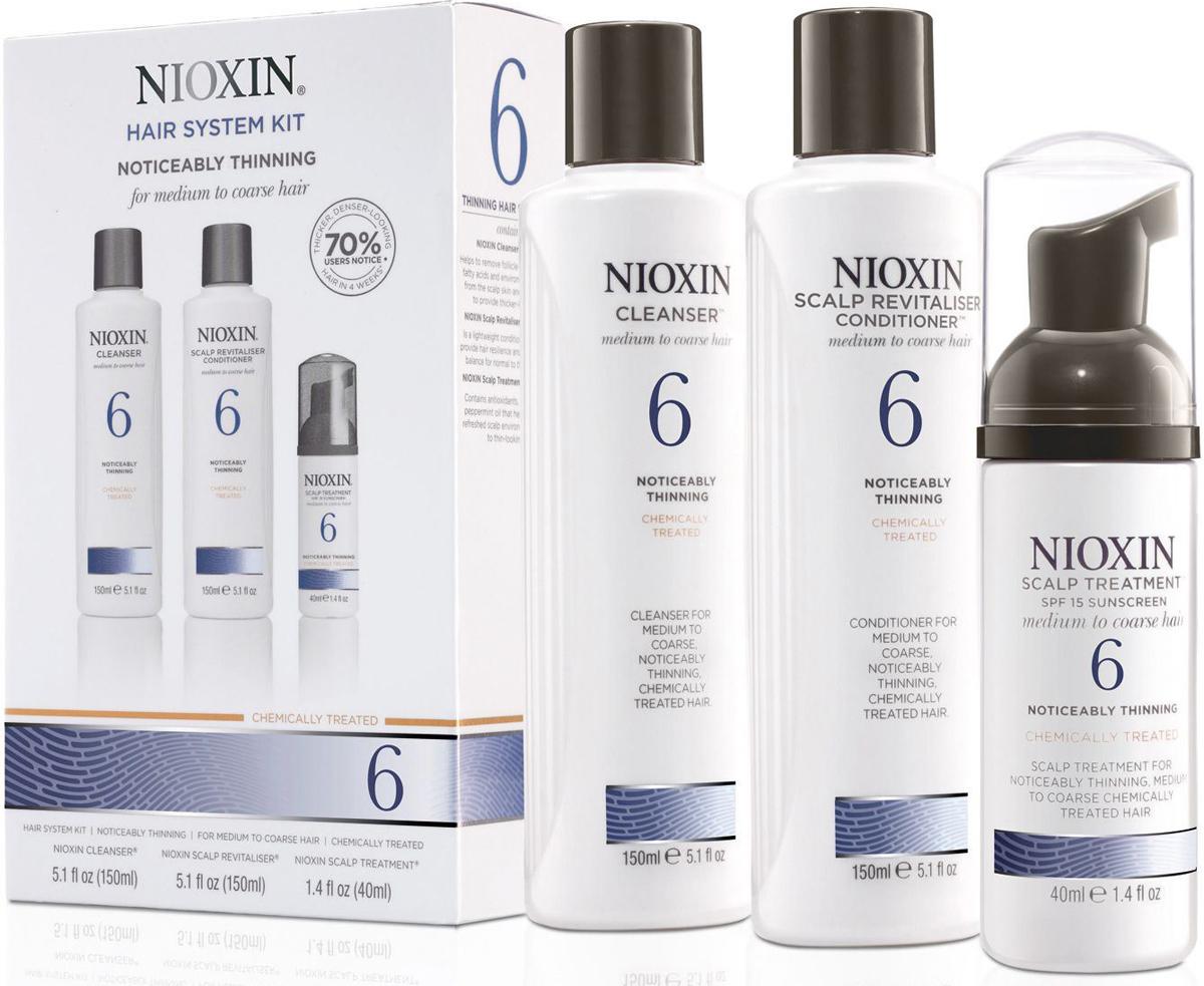 Nioxin System 6 Kit XXL - Набор (Система 6) 300 мл+300 мл+100 мл81543680/7992В набор входят: Шампунь Очищение 300 мл - придающий объём очиститель Кондиционер Увлажнение 300 мл - придающий объём кондиционер Маска Питание 100 мл - придающая объём и питающая волосы маска Все средства обеспечивают деликатный уход за волосами и кожей головы, питая их и защищая от неблагоприятных воздействий окружающей среды.