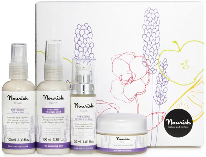 Nourish Подарочный набор для ухода за лицом Relax, для чувствительной кожи: молочко, очищающее, тоник-мист, увлажняющий, крем для лица, увлажняющий, сыворотка для лица, питательная nourish сыворотка для лица radiance с экстрактом розы для нормальной и зрелой кожи 30 мл