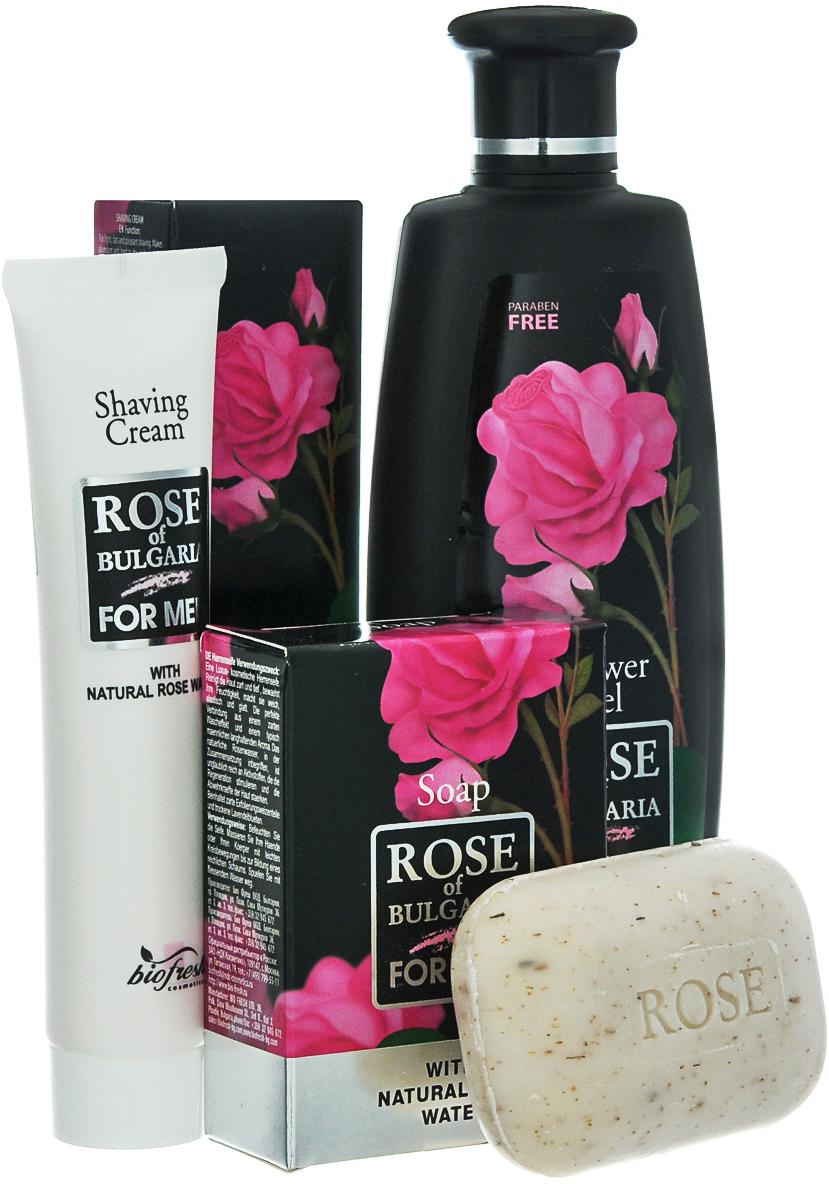 Rose of Bulgaria for men Подарочный набор мужской: гель для душа-шампунь 2 в 1, 230 мл, мыло для мужчин, 100 г, крем для бритья, 75 мл