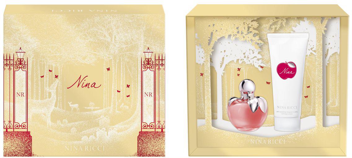 Nina Ricci Nina Подарочный набор: Туалетная вода женская 50 мл + лосьон для тела 100 мл3137370318996Ароматическая композиция NINA - нежное, соблазнительное и жизнеутверждающее имя. Понятное без перевода, интернациональное. Символичное, воплощающее новый образ женственности. NINA - новый волшебный аромат, современная сказка, полная магии и волшебных эмоций. Сказочный и романтичный аромат, наделенный силой соблазнения, обещания чуда! Для молодой женщины, любящей неожиданные сюрпризы и волшебство. Признан Лучшим ароматом 2007 года в России. Бестселлер парфюмерной коллекции бренда NINA RICCI. Флакон в стиле современный винтаж напоминает ювелирное украшение, волшебный талисман. Дизайн связан с историческим наследием NINA RICCI. Это современная интерпретация флакона в виде магического яблока соблазна. Ключевые слова: Нежный, яркий, лакомый, чувственный, эмоциональный, поэтичный, фантазийный, романтичный.Краткий гид по парфюмерии: виды, ноты, ароматы, советы по выбору. Статья OZON Гид