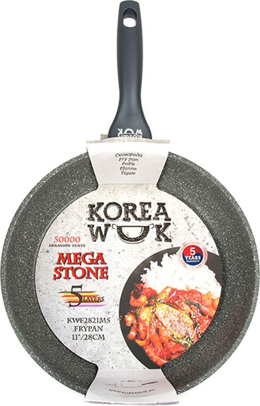"""Сковорода """"Korea Wok"""" выполнена из литого алюминия с новым антипригарным пятислойным эко-покрытием MEGA STONE. Бакелитовая ручка со специальным прорезиненным покрытием SOFT TOUCH.  Подходит для всех типов плит. Можно мыть в посудомоечной машине.  5 лет гарантии!  Диаметр: 28 см."""