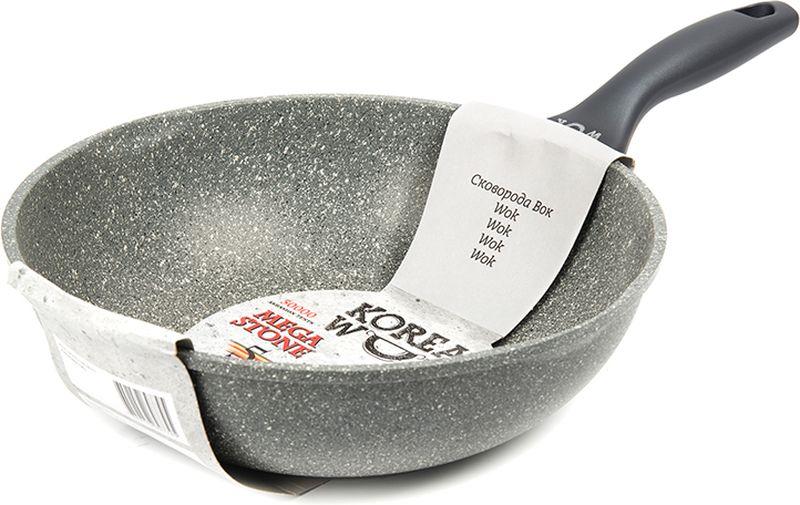 Сковорода из литого алюминия с новым антипригарным 5-ти слойным ЭКО-покрытием MEGA STONE.Бакелитовая ручка со специальным прорезиненным покрытием SOFT TOUCH. Подходит для всех типов плит. Можно мыть в посудомоечной машине.  От качества посуды зависит не только вкус еды, но и здоровье человека. Вок Korea Wok, 28 х 8 см - товар, соответствующий российским стандартам качества. Любой хозяйке будет приятно держать его в руках. С такой кухонной утварью приготовление еды и сервировка стола превратятся в настоящий праздник.