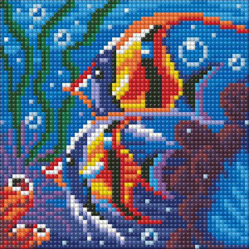 """Набор для изготовления картины со стразами Алмазная Живопись """"Обитатели рифа"""", 15 х 15 см"""