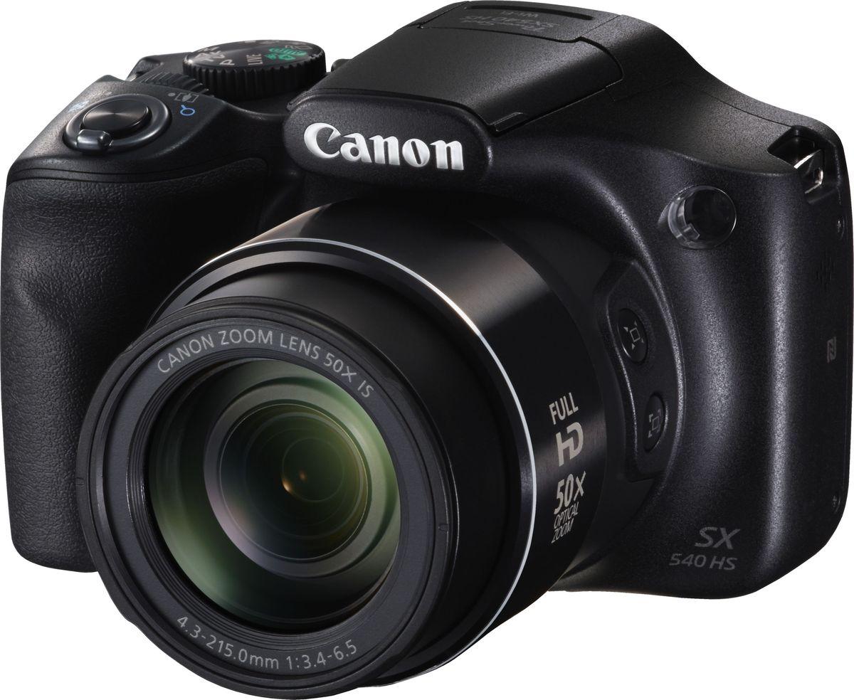 Canon PowerShot SX540 HS, Black компактная фотокамера1067C002Ультра-зум камера Canon PowerShot SX540 HS сочетает в себе простоту использования и широкие возможности управления, онаоснащена зумом 50x и открывает широкие горизонты для творчества, позволяя создавать потрясающиефотографии и видео и обмениваться ими. Идеальный вариант для отпуска и праздничных событий.Запечатлейте детали отдаленных объектов или увеличьте охват кадра, используя мощный оптический зум 50xсо сверхшироким углом 24 мм. Получайте четкие снимки при любом освещении благодаря датчику изображенияCMOS 20,3 МП и мощному процессору DIGIC 6, а также снимайте спонтанные действия с помощью функцииавтофокусировки 0,13 с и быстрой серийной съемки 5,9 кадра/с.Снимайте реалистичные видеоролики в формате Full HD 60p одним нажатием кнопки, сохраняя плавностьвидеоизображения даже при максимальном увеличении или на бегу благодаря улучшенному динамическомустабилизатору изображения. Снимайте короткие лаконичные видеоролики продолжительностью 4, 5 или 6секунд с помощью функций Короткий клип и Story Highlights, которые позволяют объединить фотографии ивидео в видеоальбом.Подключайтесь к поддерживаемым мобильным устройствам одним касанием, используя Wi-Fi и NFC для простойотправки файлов. Используйте функцию синхронизации изображения для автоматического резервногокопирования новых снимков в облачные сервисы и создания отличных фотографий дикой природы с помощьюфункции беспроводной дистанционной съемки с мобильного устройства. Кнопка Wi-Fi обеспечивает быстрый ипростой доступ к функциям Wi-Fi.Наведите камеру на объект и снимайте потрясающие фотографии или получите интересный видеодайджест задень в формате HD (720p), используя режим Hybrid Auto. Функция Творческий снимок упрощает творческийпроцесс, создавая 5 дополнительных уникальных изображений исходного снимка. По мере освоения разныхнавыков вы сможете полностью контролировать съемку.Получайте стабильное изображение и четкие снимки даже при максимальном увеличении б